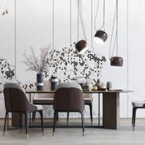 现代餐桌餐椅组合3D模型【ID:544888147】