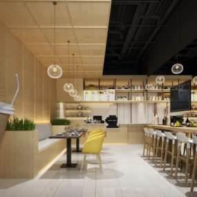 现代奶茶店3D模型【ID:644230459】