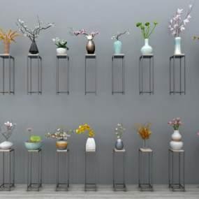 新中式带底花瓶装饰花瓶摆件干枝组合3D模型【ID:231356537】
