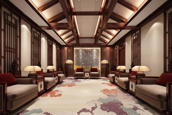 新中式洽谈室接待室3D模型【ID:948051355】