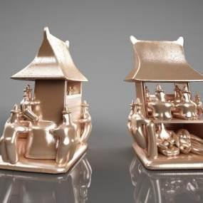 现代雕塑摆件3D模型【ID:334513643】