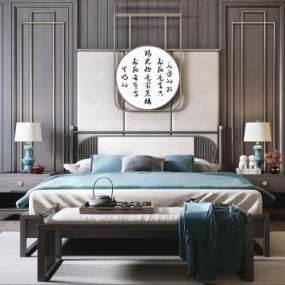 新中式實木雙人床組合3D模型【ID:852579738】