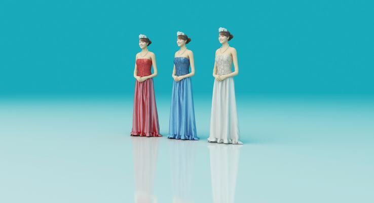 现代美女模特3D模型【ID:944381906】