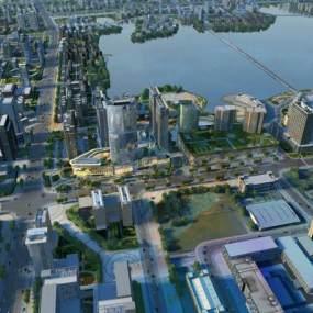 现代都市建筑群鸟瞰图3D模型【ID:232645072】