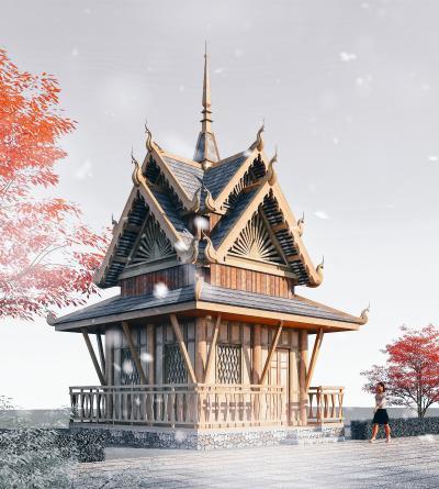東南亞風格酒店3D模型【ID:146171926】