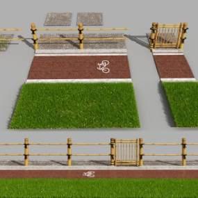 現代木柵欄3D模型【ID:246943124】