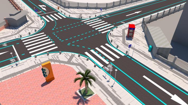 现代市政十字路口SU模型【ID:344860201】