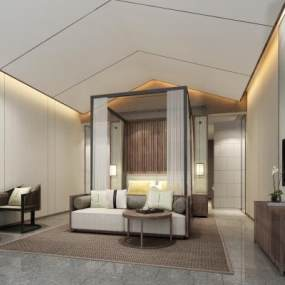 新中式酒店客房3D模型【ID:753373317】
