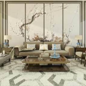 新中式沙发组合3D模型【ID:636267734】