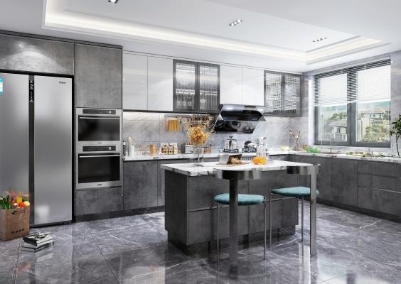 现代风格开放式厨房3D模型【ID:552544324】