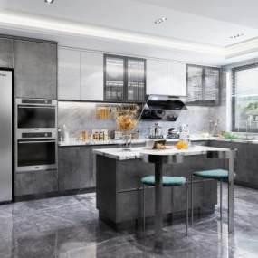 現代風格開放式廚房3D模型【ID:552544324】