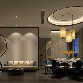 新中式餐厅包房3D模型【ID:653227805】