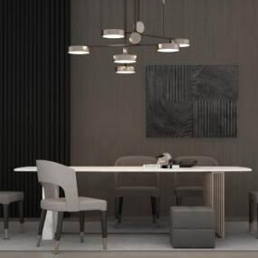 现代餐桌餐椅组合3D模型【ID:842474896】