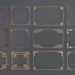 新中式角花角线花格组合3D模型【ID:331765385】