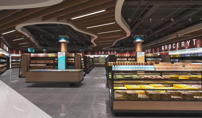 现代超市3D模型【ID:143304116】