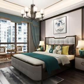 新中式次卧室 3D模型【ID:541413297】