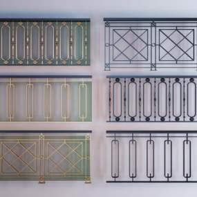 新中式金属楼梯扶手栏杆组合3D模型【ID:353350519】
