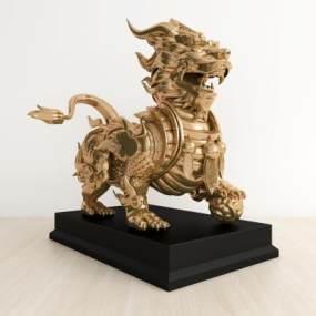 中式麒麟雕塑3D模型【ID:337143113】