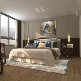 新中式酒店套房3D模型【ID:743540303】