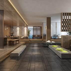 新中式酒店會所3D模型【ID:647399563】