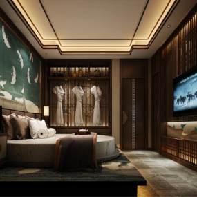 新中式酒店客房 3D模型【ID:741999335】