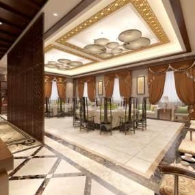 新中式宴会厅饭店包厢3D模型【ID:731201264】