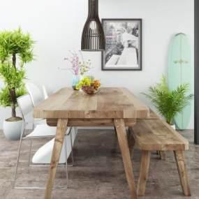 北欧原木餐桌椅3D模型【ID:844393893】