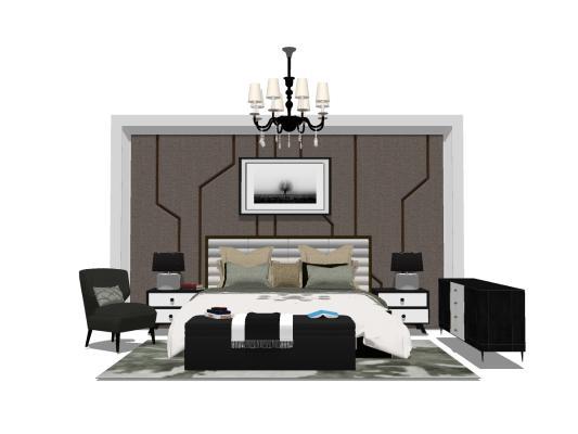 现代卧室床具组合SU模型【ID:545260279】