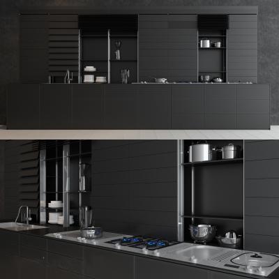 現代極簡黑色調櫥柜國外3D模型【ID:130622746】