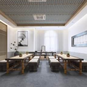 新中式茶室装饰画3D模型【ID:642068128】