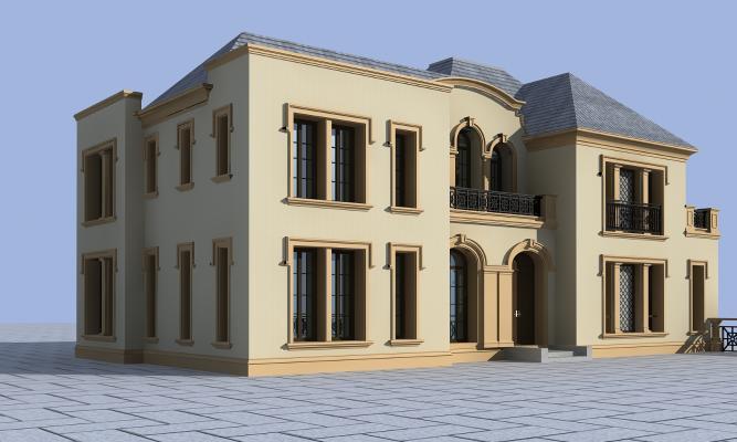 欧式全模别墅3D模型【ID:142063315】