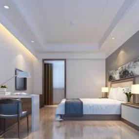 现代酒店客房3D模型【ID:734739317】