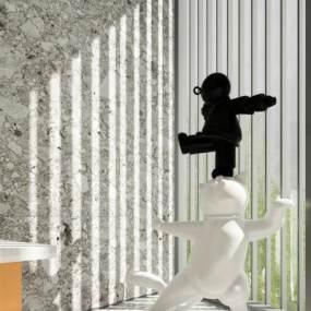现代小人雕塑摆件3D模型【ID:350533170】