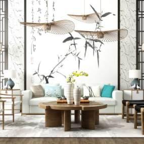 新中式禅意沙发茶几吊灯背景墙组合3D模型【ID:635829724】
