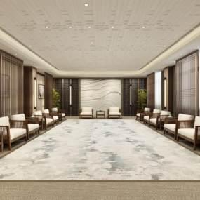 新中式新建城国际学校接待室3D模型【ID:945622365】