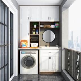 現代陽臺洗衣機組合3D模型【ID:546943658】