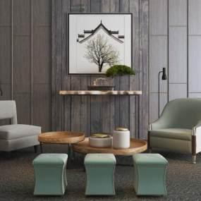 新中式单人沙发组合3D模型【ID:631353737】