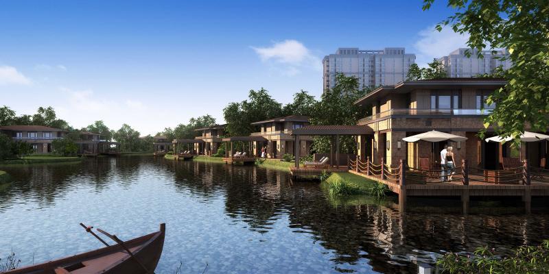 歐式湖邊別墅外景3D模型【ID:141864340】