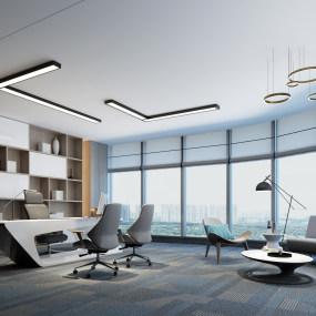现代经理办公室3D模型【ID:935780046】