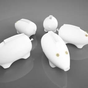 现代小猪钱罐摆件3D模型【ID:234654570】