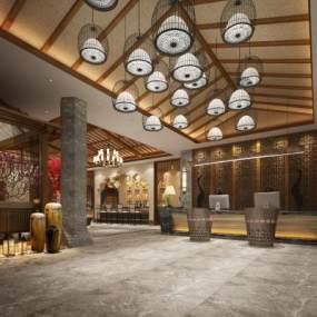 新中式酒店大堂3D模型【ID:735409010】
