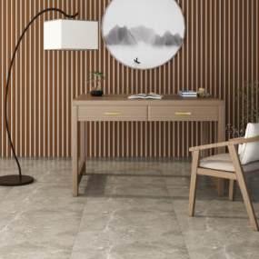 现代书桌椅组合3D模型【ID:946574042】