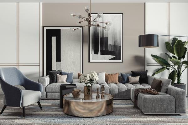 现代沙发茶几组合 布艺沙发 吊灯