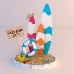 现代沙滩摆件3D模型【ID:247153513】