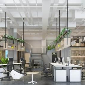 现代公共办公室3D模型【ID:935825006】
