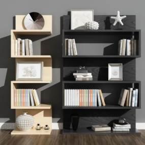 现代书柜书架3D模型【ID:144106535】