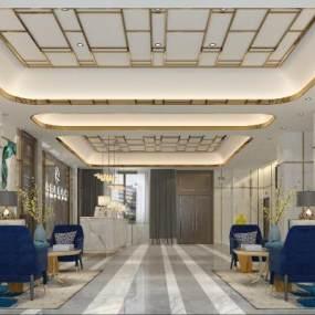 現代輕奢酒店大廳3D模型【ID:747044040】