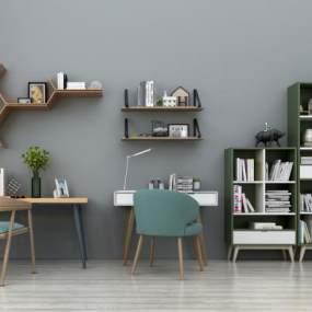 现代书桌椅书柜装饰柜组合3D模型【ID:930586042】
