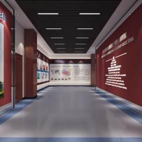 现代简约红色企业展厅3d3D模型【ID:946932788】