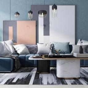 北欧风格沙发组合3D模型【ID:635978725】